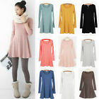 New Women Solid Color Long Sleeve Crew Neck Mini Dress Bottoming Skirt AB US