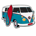 2 x Static Cling Stickers - Camper Van VW Surf Surfing Car Window Decal #4017