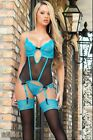NEW! ELEGANT GORGEOUS CHANTILLY LACE UNDERWIRED CUPS BONED CORSET W STOCKING