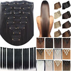 100% Natural Long Full Head Clip In ins Hair Extensions Curly/Wavy/Straight ss06