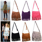 Celebrity Fringe Tassel Faux Suede Crossbody Bag Shoulder Messenger Handbag