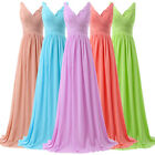 Stock Sexy Deep V Evening Formal Party XMAS Ball Gown Bridesmaid Long Prom Dress