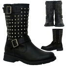 Ladies Women's Studded Boots Low Heel Mid Calf Leather Shoes Size UK 3 4 5 6 7 8