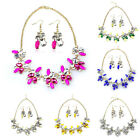 1X New Resin Rhinestone Flower Shaped Collar Bib Necklace Earring Set Tide