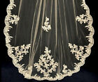 Ivory White Beaded Cathedral Length Alencon Lace Edge Bridal Wedding Veil