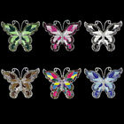 COLORFUL RHINESTONE BUTTERFLY SILVER BROOCH PIN #LBH090