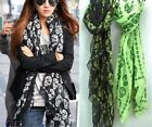 Long Warm Comfortable Halloween Goth Skulls Pattern Lightweight Neck Scarf Wrap