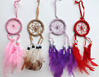 Native American Dream Catcher - Small Suede - Red, Pink, Lilac, Light Brown
