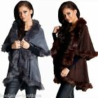 WOMENS BROWN GREY QUALITY DOUBLE LAYER FAUX FUR CAPE JACKET SHAWL COAT SIZE 8-18