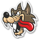 2 x Angry Wolf Cartoon Sticker Quad ATV Helmet Car Bike iPad Laptop Decal #4109
