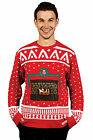 Mens Knitted Crackling Fireplace Christmas Ugly Jumper Sweater Xmas Size Large