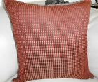 NEW PAIR Red Gold Check SOFT CHENILLE X-LGE or OBLONGCushion Covers with trims