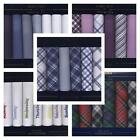 100% COTTON HANDKERCHIEFS CHOICE OF 9 STYLES BOXED HANKIES HANKYS MENS LADIES