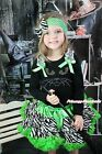 Halloween Black Top Rhinestone Green Eye Cat Zebra Baby Girl Pettiskirt 1-8Year
