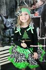 XMAS Black Top Christmas Tree Print Green Zebra Baby Girl Pettiskirt 1-8Year