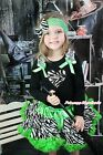 Halloween Zebra Heart Black Top Green Zebra Baby Girl Pettiskirt Outfit 1-8Year