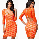 Sexy Women Evening Party Cocktail Mini Lace Bodycon Backless Club Wear Dress