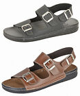 Mens Gezer Leather Look Wide Fit Jesus Sandals Mules BLACK BROWN Sz 7 8 9 10 11