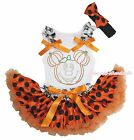 Halloween Rhinestone Pumpkin Mouse White Top Orange Black Dot Baby Skirt NB-8Y