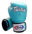 FAIRTEX MUAY THAI KICK BOXING GLOVES BGV1 LIGHT BLUE CYAN SPARRING 6 - 18 OZ MMA
