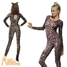 Leopard Print Body Suit Sexy Animal Catsuit Ladies Womens Fancy Dress UK 6-14