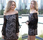 Embroidered Sexy Women Lace Long Bell Sleeve Off Shoulder Mini Shirt Party Dress