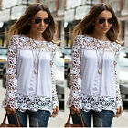 Sexy Woman Lace Chiffon Stitching Hollow Long Sleeve Casual Blouse Shirt Fit Top