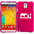 For Samsung Galaxy Note 2 3 4 Rubber Hard Case Cover Cowgirl Praying Cross Horse