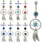 Dream Catcher Dangle Navel Belly Bar Gemstone Stunning Dreamcatcher 9 Colours UK