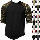 Mens Baseball TEE RAGLAN T Shirts Jersey 3/4 Sleeve Basic Plain S-3XL Solid
