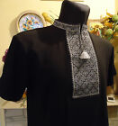 Ukrainian Embroidered Men's T Shirt. Black 95% cotton & 5% lycra, Geometric