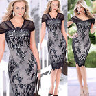 CHEAP & NEW VINTAGE Womens Lace Cap Sleeve Bodycon Pencil Party Dress Clubwear