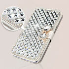 Luxury Diamond Bling Crystal Synthetic Leather Flip Case Cover For Mobile Phones