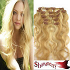 "18/20/22""Brown&Blonde Curly&Wavy Clip In Human Hair Extension 70-100G~free ship."