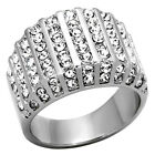 Women's Ring Round Cut Cubic Zirconia Stainless Steel Wide Band Sz 5-10