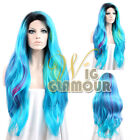 "Long Wavy 28"" Black Roots Blue with Magenta Tips Lace Front Synthetic Wig"
