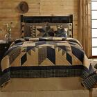 6PC DAKOTA STAR COUNTRY PRIMITIVE BLACK KHAKI FEATHERED PLAID BED SET VHC BRANDS
