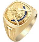 Men's 10k or 14k White or Yellow Gold Masonic Past Master Open Back Ring