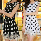 New Arrival Women Summer Casual Sleeveless Chiffon Bodycon Polka Dots Mini Dress
