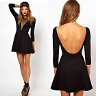 Sexy Women Mesh V-neck Bodycon Backless Waist Evening Party Cocktail Club Dress