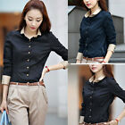 Women's Long Sleeve Splicing Button Down Lapel Shirt Office Lady Blouse Tops Tee