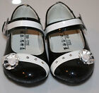 NEW GIRLS MARY JANE BLACK WITH LIGHT IN THE FRONT &  STONES NEW STYLE SIZE 5- 8