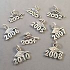 .925 Sterling Silver GRADUATION YEAR With CAP Pendant Charm NEW 925 GD03