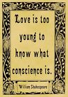 A4 Parchment Poster Quotation Shakespeare - Conscience - Greeting Card Option