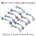 Curved Eyebrow Bar 5 Way Crystal Banana Barbell 16G 1.2mm 6 -12mm All Colours