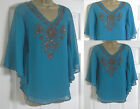 NEW EX MONSOON TEAL GREEN / BLUE BEADED  SUMMER PARTY TOP BLOUSE BATWING 10-18