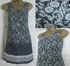 NEW EX WHITE STUFF LADIES GREY BLACK FLORAL TUNIC SHIFT TEA DRESS COTTON 8 - 18