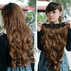 Women Girls Synthetic Curly Wavy Onepiece Clip Hair Extension Wig Hairpiece