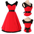 ~RED CLASSY VINTAGE 1950's ROCKABILLY STYLE BLACK BOW SWING PARTY EVENING DRESS