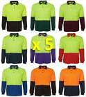 5 PACK Mens Hi Vis Traditional Long Sleeve Polo Shirt 6HVPL | Tradie, Trade Wear